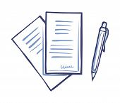 Writing Pen And Paper Documents With Signature Isolated. Office Page With Scribble In Right Corner.  poster