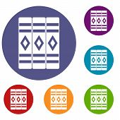 Three Literary Books Icons Set In Flat Circle Reb, Blue And Green Color For Web poster