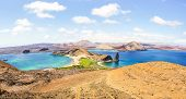 Panoramic View Of  Isla Bartolome  At Galapagos Islands Archipelago - Travel And Wanderlust Concep poster