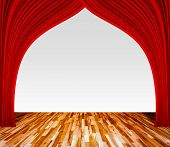 Background With Red Curtain And Wooden Floor Interior Background, Interior Template For Product Disp poster
