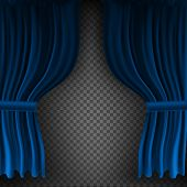 Realistic Colorful Blue Velvet Curtain Folded On A Transparent Background. Option Curtain At Home In poster