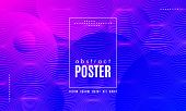 Gradient Fluid Shapes. Abstract Background In Blue And Pink Colors. Wave Liquid And Distorted Gradie poster