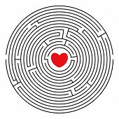 Round Labyrinth With Red Heart poster