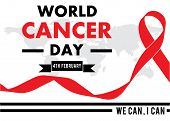 Red Ribbon, 4th February , World Cancer Day Lettering Banner,  World Map,we Can I Can, On White  Bac poster