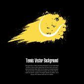 Grunge Tennis Background. Abstract Tennis Ball Made From Blots. Tennis Design Pattern. Vector Illust poster