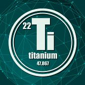 Titanium Chemical Element. Sign With Atomic Number And Atomic Weight. Chemical Element Of Periodic T poster