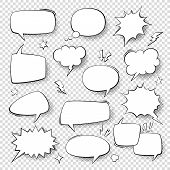 Speech Bubbles. Vintage Word Bubbles, Retro Bubbly Comic Shapes. Thinking And Speaking Clouds With H poster