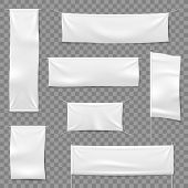 Textile Advertising Banners. Flags And Hanging Banner, Blank Fabric White Horizontal Cloth Sign, Tex poster