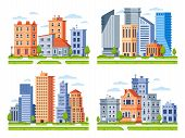 Real Estate Buildings. City Houses Cityscape, Town Apartment House Building And Urban Residential Di poster