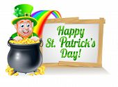 Leprechaun Cartoon St Patricks Day Character Peeking Over A Pot Of Gold At The End Of The Rainbow Wi poster