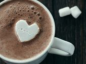Hot Chocolate With Marsmallow In Heart Shape. Close Up View Of Cup With Hot Cocoa Or Chocolate. St.  poster