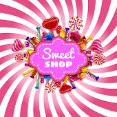 Candy Shop Frame Template Background With Set Of Different Colors Of Candy, Candy, Sweets, Chocolate poster