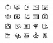 Online Education Line Icons. E-learning Computer Training, Online Distant Education, Laptop Tutorial poster