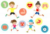Set Of Family Jogging For Healthy. Vector Flat Cartoon Character Icon Design.vector Illustration Iso poster
