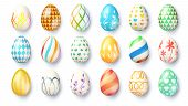 Big Set Of Easter Eggs Isolated On White Background. Hand Made Collection Of Easter Eggs Lying On Th poster