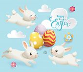 Happy Easter Cute Bunny Egg Vector Banner. Cute White Rabbit, Flower And Cloud On Blue Background Ty poster