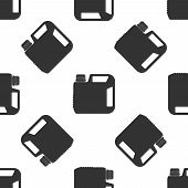 Plastic Canister For Motor Machine Oil Icon Seamless Pattern On White Background. Oil Gallon. Oil Ch poster