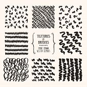 Hand Drawn Textures And Brushes. Artistic Collection Of Handcrafted Design Elements: Rough Graphic P poster