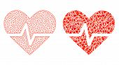 Mesh Vector Heart Pulse With Flat Mosaic Icon Isolated On A White Background. Abstract Lines, Triang poster
