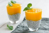 Chia Seeds Pudding With Mango Puree. Healthy Breakfast. Sweet Healthy Dessert. poster