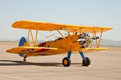 image of orifice  - Vintage Steaman biplane parked on the ramp in Arizona - JPG