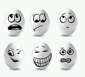 Funny Eggs. This Is Image Of Funny Eggs On White Background. Faces On The Eggs. Funny Easter Smile E poster