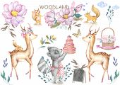 Cute Baby Deer And Roccoon With Tasty Cake Animal Isolated Illustration For Children. Bohemian Water poster