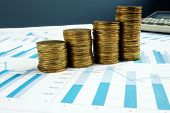 Profit Growth. Stacks Of Coins And Business Documents. Investment Fund. poster