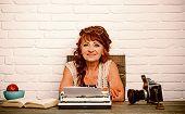 Copywriter. Senior Writer At Desk. Old Woman Work In Writer Office. Senior Woman Type On Retro Typew poster