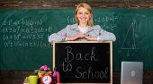 Enjoying University Life. Home Schooling. Happy Woman. Teacher With Alarm Clock At Blackboard. Time. poster