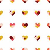 Heart Collage Seamless Vector Pattern. Contemporary Collage Of Hearts. Paper Cut Out Style. Modern A poster