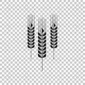Cereals Icon Set With Rice, Wheat, Corn, Oats, Rye, Barley Sign Isolated On Transparent Background.  poster