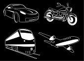 Постер, плакат: Векторные иллюстрации транспорта Черный и белый Другие транспортные иконы вы можете увидеть в моем портфолио