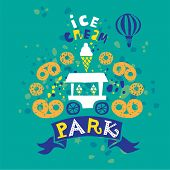 Ice Cream Kiosk Vector Illustration. Ice Cream Summer Shop. Pretzels, Ice Cream Cones. Ice Cream And poster