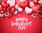 Valentines Day Vector Background. Happy Valentines Day Greeting Text With Hearts Elements In Red Bac poster