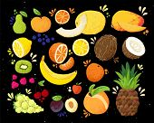 Set Of Colorful Hand Draw Fruits Tropical Sweet Fruits, And Citrus Fruit Illustration. Apple, Pear,  poster