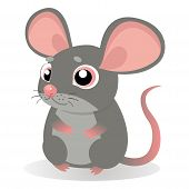Lonely Gentle Mouse. Fancy Little Mice Vector Illustration. Cute Sitting Mouse In Cartoon Style. Gre poster