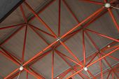 Factory Ceiling Made Of Red Ceiling Pipes poster