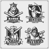 Baseball Badges, Labels And Design Elements. Sport Club Emblems With Hunter, Wizard, King And Joker. poster