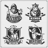Hockey Badges, Labels And Design Elements. Sport Club Emblems With Hunter, Wizard, King And Joker. P poster