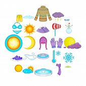 Mountain Climate Icons Set. Cartoon Set Of 25 Mountain Climate Icons For Web Isolated On White Backg poster