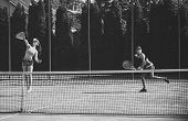 Sport, Training, Workout. Women Athletes Play Tennis, Training. Energy, Energetic, Activity. Wellnes poster