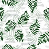 Tropical Leaves And Triangles On Light Background. Tropical Palm Leaves, Jungle Leaves Seamless Vect poster