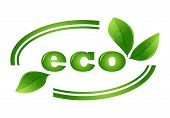 Organic Eco Vector Logo With Green Leaves. Organic Natural, Bio And Eco Green Label Illustration.eco poster