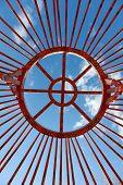 stock photo of yurt  - installation of traditional Mongolian dwelling  - JPG