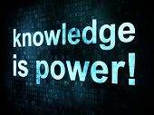 Education and learn concept: pixelated words knowledge is power