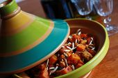 image of tagine  - A classic Moroccan Tagine consisting of meat, vegetables, dried fruits, and spices.