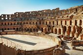 foto of grandstand  - Famous El Jem amphitheater in Tunisia, North Africa