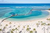 stock photo of waikiki  - Famous Waikiki Beach on the Hawaiian island of Oahu - JPG