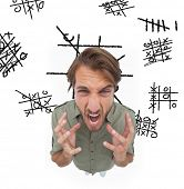 pic of outrageous  - Outraged man gesturing and yelling with noughts and crosses on the background - JPG
